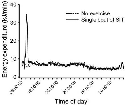 Energy expenditure during and after sprint interval training